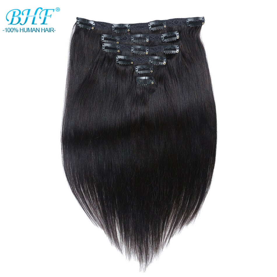 Bhf Clip In Menschliches Haar Extensions Burmesischen Maschine Made Remy 100% Natürliche Clips In Gerade Haar Extensions 2019 New Fashion Style Online
