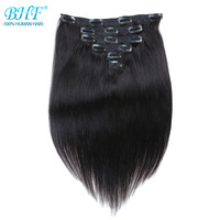 BHF Clip In Human Hair Extensions Burmese Machine Made Remy 100% Natural clips in Straight Hair Extensions