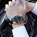 2016 Blue Dial Relogio masculino Relógios Homens Marca De Luxo Famoso Com TOP Pulseira de Couro Quartz MOVT Analógico Mens Relógio Militar