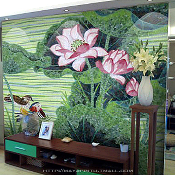 Lotus Flower Mosaic Puzzle Painting Entranceway Tv Sofa Background