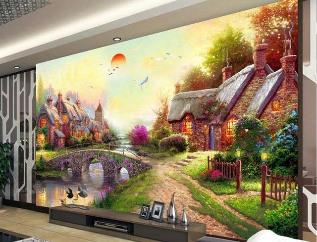 Us 13 26 49 Off Custom Wallpaper 3d Stereoscopic Cherry Blossoms Landscape Painting Japanese Style Wall Mural Living Room Bedroom Wallpaper In