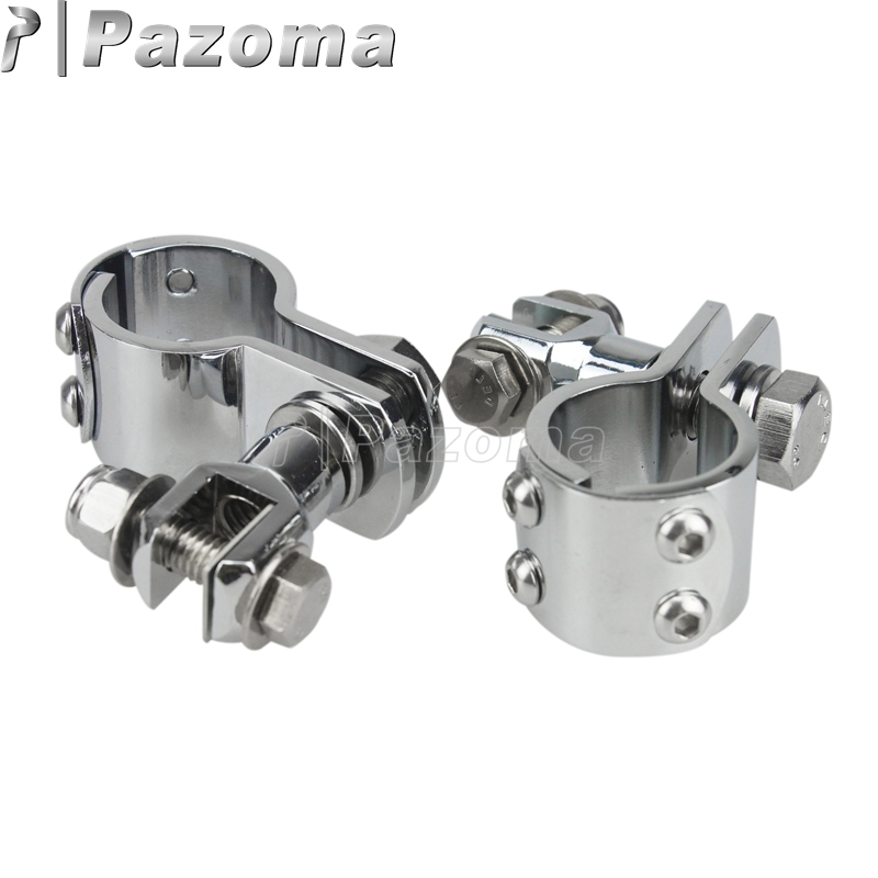 """Chrome 1 1/4"""" Foot Peg Adapter Engine Guard Footrests Mount Clamps For Harley Davidson Metric Motorcycles Male Mount-Style"""
