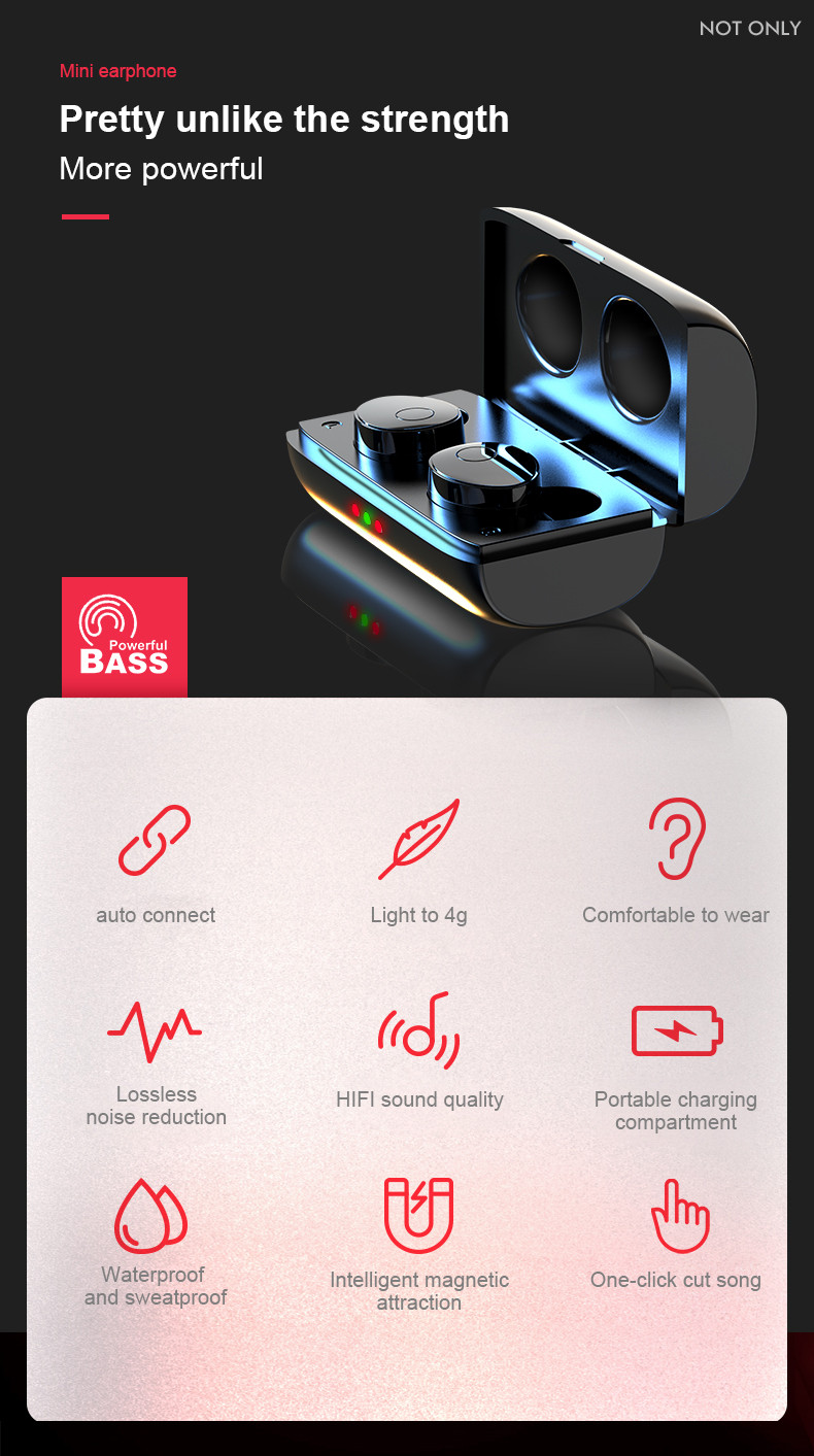 2019 T11 TWS Bluetooth 5.0 Wireless Earbuds Headphone Headset In-Ear Earphone  Bluetooth 5.0 surround sound stereo, auto-start,