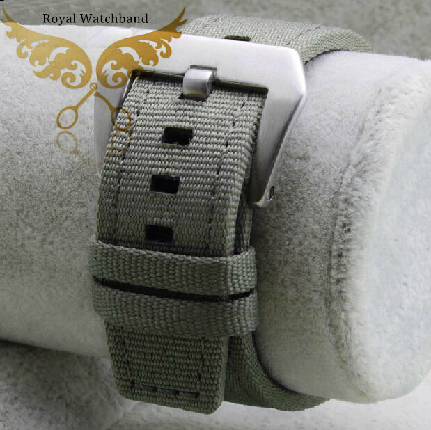 22mm New High Quality Light Army Green Sports Nylon Watch Band Strap With Genuine Leather lining
