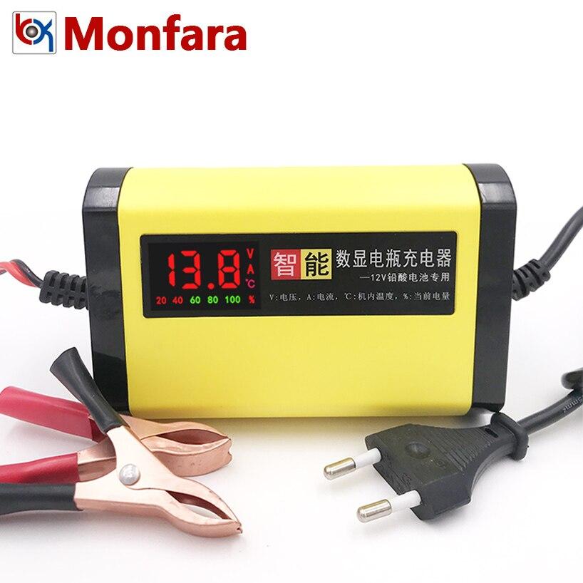 12 Volt 2A Smart Batterie Ladegerät LCD Spannung Strom Kapazität Anzeige für 12 v 2 AMP Auto Motorrad Spielzeug Blei säure AGM GEL 2000MA