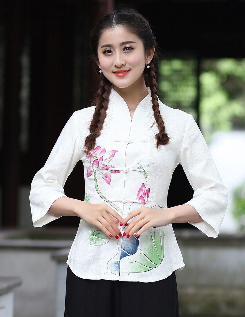 Fashion Summer White Chinese Female Shirt Tops Lady Cotton Linen Blouse tang Clothing Size S M L XL XXL XXXL 2615-2
