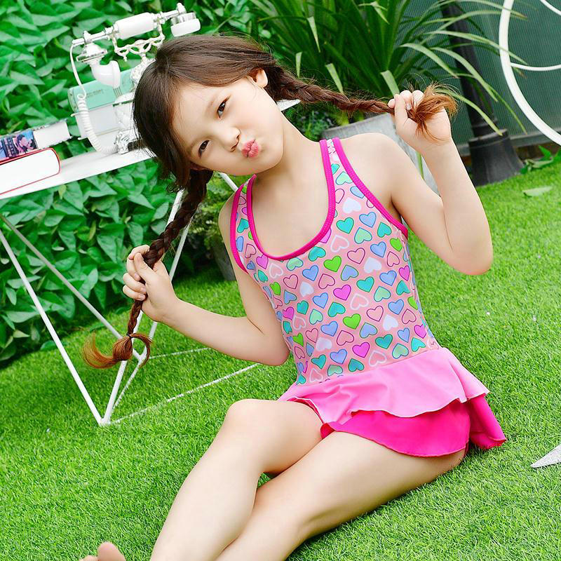 Heart Print Cute Little Girls Outdoor Swimwear Children