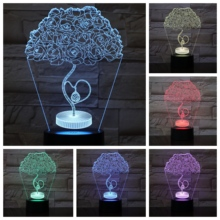 Love Heart Rose Tree 3D LED Lamp bedside gece lambasi Lampara RGB Girl Child Kids Baby Birthday Gifts USB Night Light