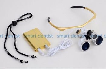 Good Quality 3.5X420mm Portable Dentist Surgical Binocular Dental Loupe Optical Glass with LED Head Light Lamp