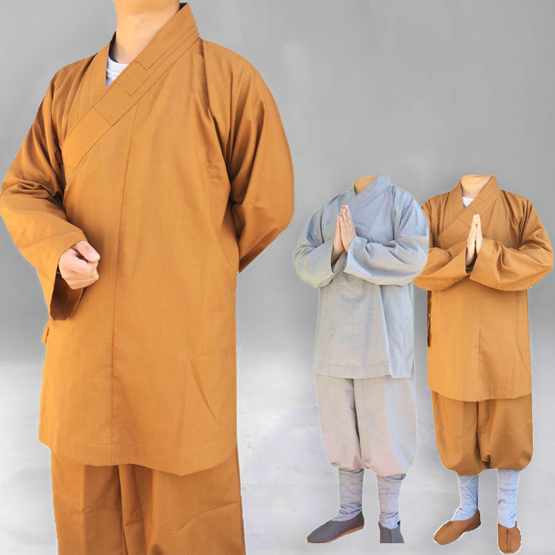 Buddhist Monks Costume Shaolin Temple Clothing Robe Zen Clothes Buddhism Meditation Lohan Clothes Lay Monk Costume
