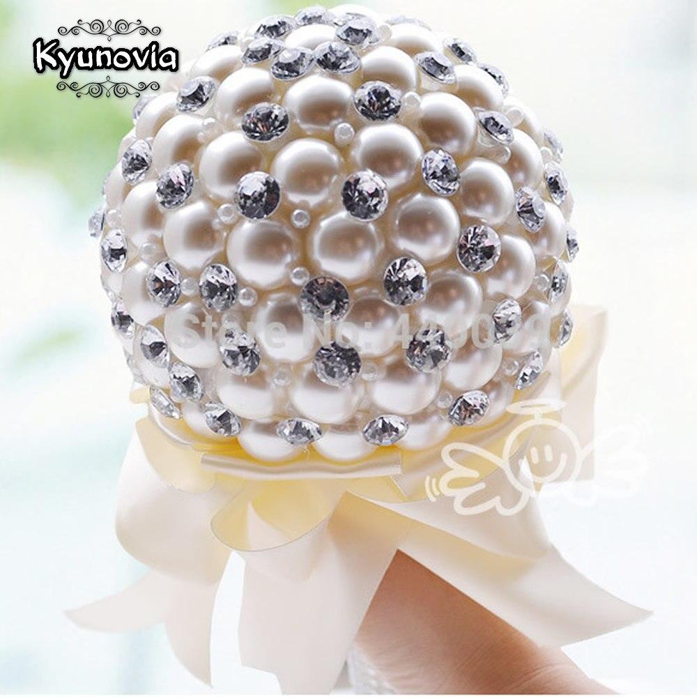 Kyunovia 4 couleur Élégante Perle De Mariage Fleur Mini Bouquets De Mariée Cristal Étincelle bouquet Mariée Demoiselle D'honneur De Mariage Bouquet FW74