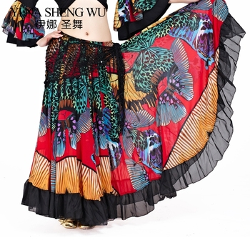 1pc Tribal Belly Dance Performance Gypsy Skirt Butterfly Full Circle Flamenco Skirt Women Belly Dance Skirts Chiffon 360 Degrees обувь для тибетских танцев butterfly dance 1204