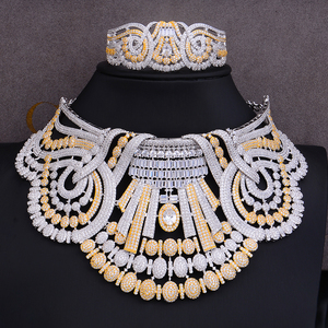 Image 2 - missvikki 4 PCS Noble Luxury Gorgeous Necklace Bangle Earrings Ring Jewelry Set for Bridal Actor Dancer Accessories Jewelry