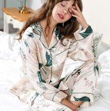 Conjuntos de pijama de seda real moda feminina impresso 100% silkworm seda de manga longa de duas peças de seda sleepwear fino verão t8166