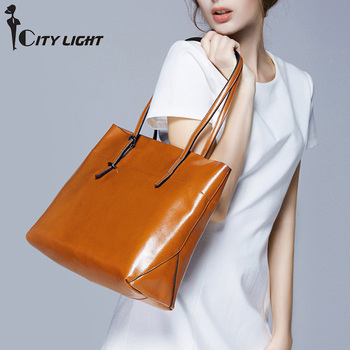 Women Handbag Soft Oil Wax Genuien Leather Shoulder Bag Brand Women Bag Large Capacity Casual Tote Bag Crossbody Bag