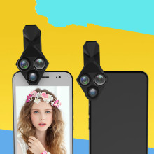 Triangle three-in-one front and rear mobile phone lens fisheye wide-angle macro camera