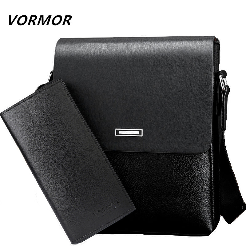 VORMOR Men bag 2018 casual  mens messenger  bags, high quality PU leather shoulder bag + wallet men's travel bags high quality casual men bag