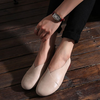 OhAnna Shoes Woman Flats Black Brown Slip On Ballet Flats Genuine Leather Round Toe Women Flat