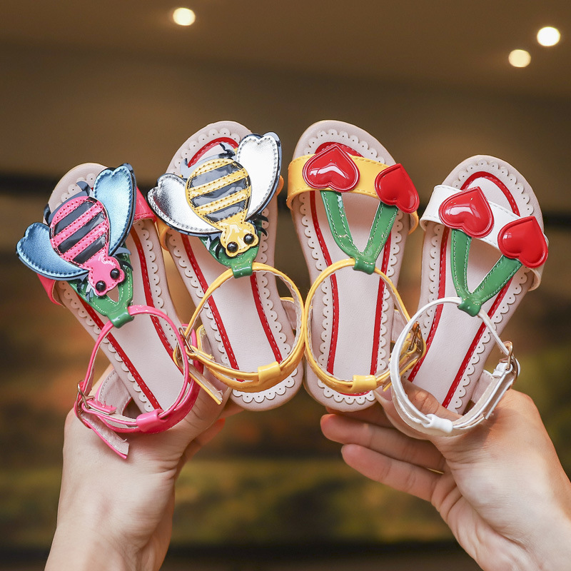 2019 Summer Girls Sandals Flowers With Heart Sharp And Bees Beach Shoes For Baby To Big Kids