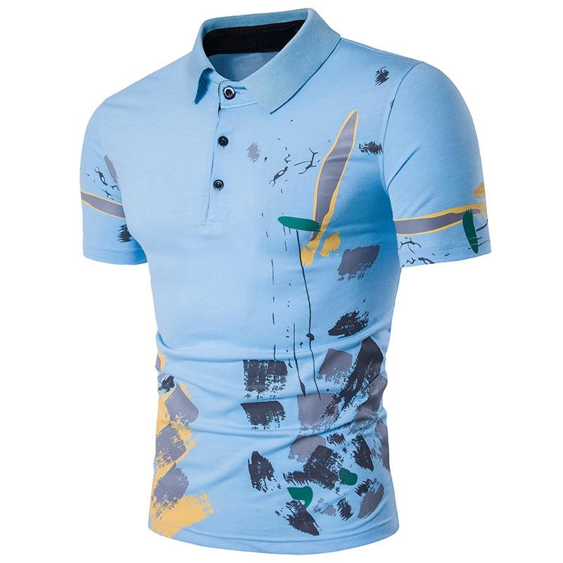 2018 Newest Designer Fashion Brand Male Polo Shirt Printing Short-Sleeve Slim Fit Shirt Men Polo Shirts Casual Polo Homme
