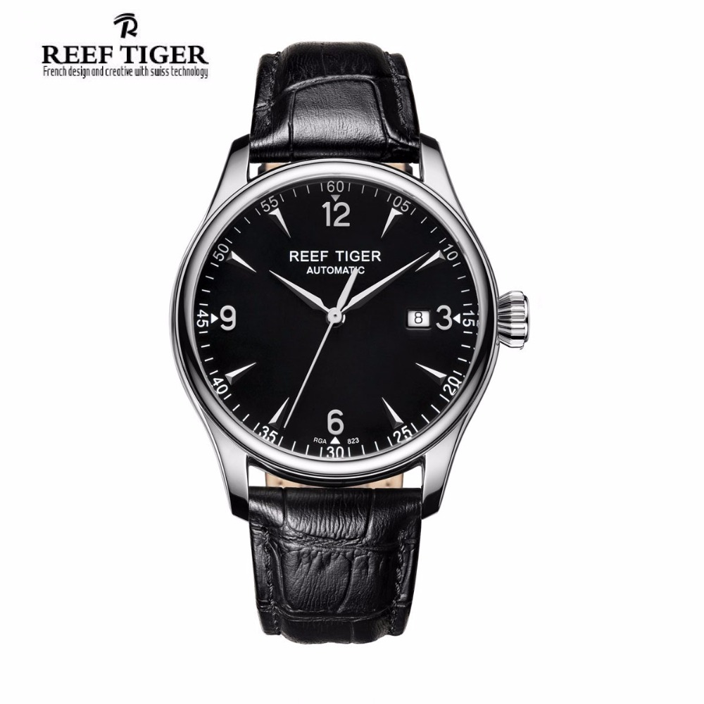 Reef Tiger/RT Business Men Watch with Date Stainless Steel Leather Strap Waterproof Mechanical Watches RGA823G vik max adult kids dark blue leather figure skate shoes with aluminium alloy frame and stainless steel ice blade