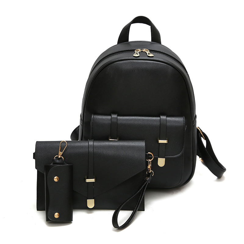 3pcs/Set Small Women Composite Bag Backpack Female Bags For Teenage Girls PU Leather Women Backpack Shoulder School Bag Purse