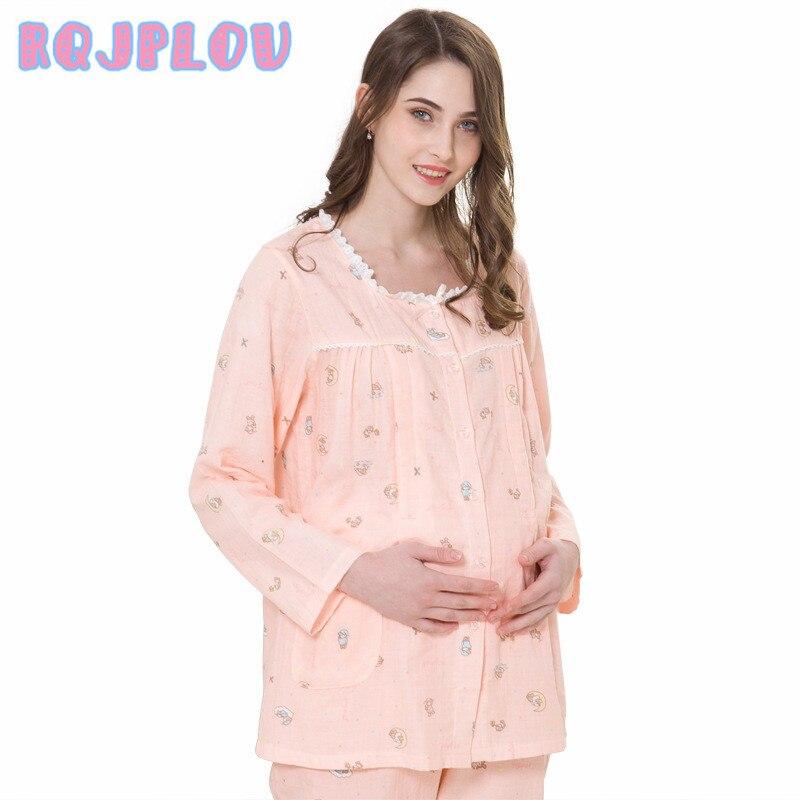 New Cotton Maternity Clothes Spring Summer Maternity Sleepwear Breastfeeding Sleepwear Nursing Pajamas for Pregnant Women