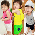 1-4T summer style girls boys sport suit Baby summer cream sleeveless Hoodies+Pants baby clothes 2pcs kids Set Children clothes