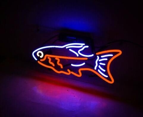 Custom Made Fish Glass Neon Light Sign Beer Bar