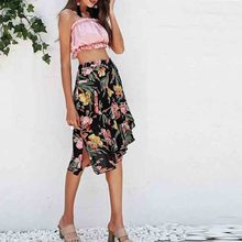 Women clothes 2019 New European and American Half-length Skirt with Irregular Printed Medium-length korean vintage