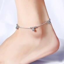Браслеты на ногу с колокольчиками анклеты серебряного цвета