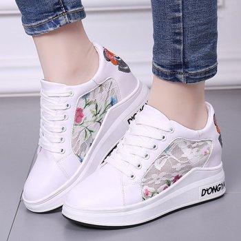 2018 Spring Autumn Women Shoes Pu Leather Korean White Platform Sneakers Women Casual Shoes Hidden Heel Wedge Ladies Sneakers Сникеры