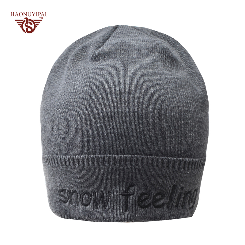 2016 Winter Knitting Cotton Hat For Male Warm Thick Skullies Beanie Outdoor Hiking Casual Hats Embroidery Letters Cap CX022 owl style male baby s organic cotton knitting warm hat w earflaps blue black white green
