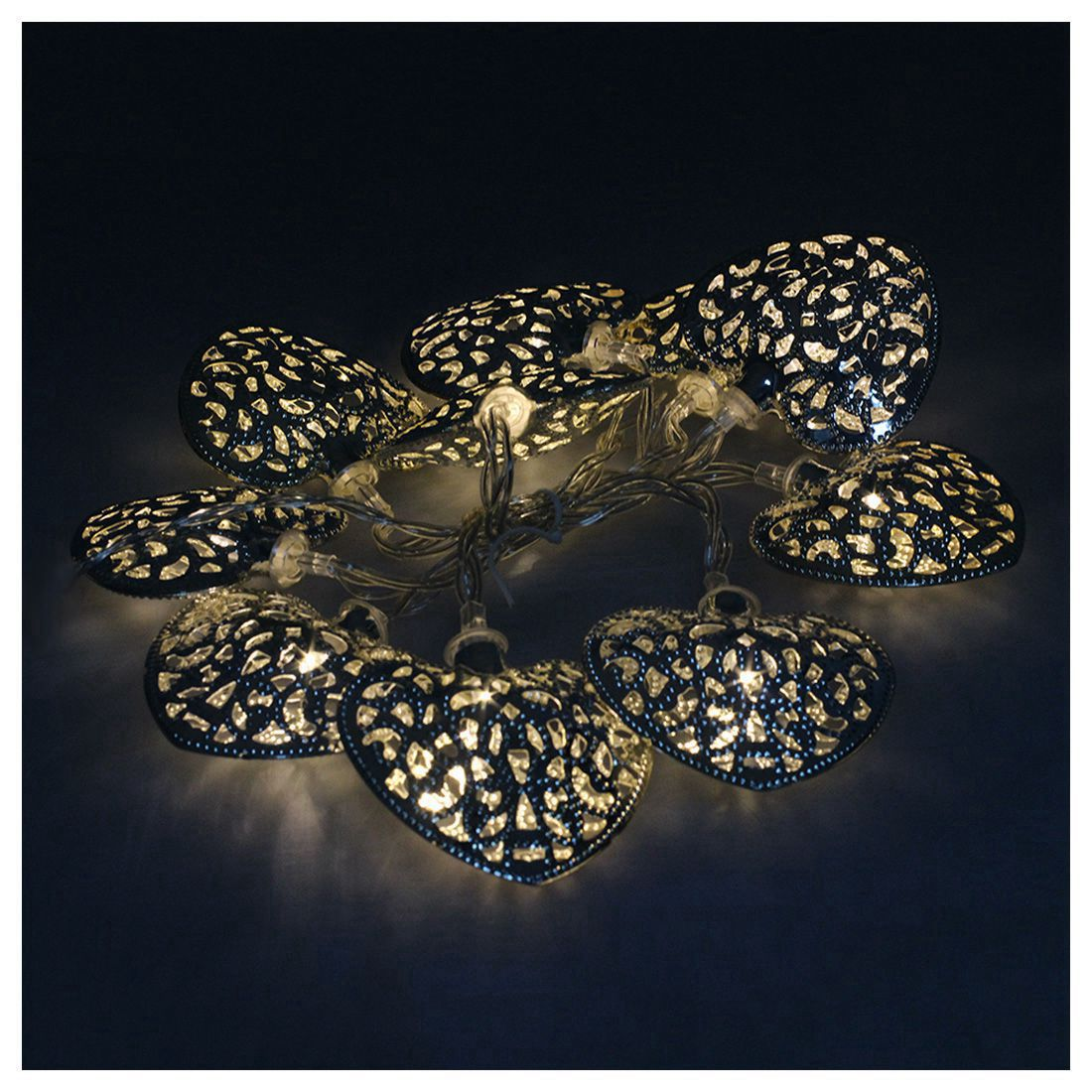 10 LED Filigree Metal Heart Battery Operated Bedroom ...