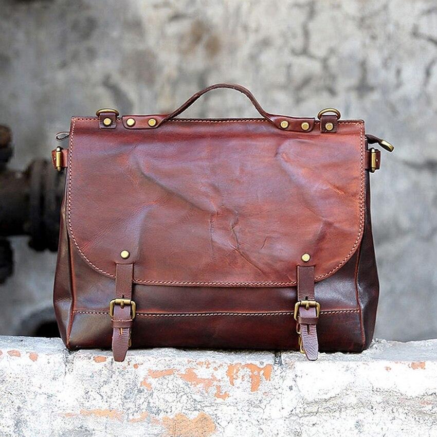 Vintage Genuine Leather Women Hand Bag 2019 Hot Fashion For Men Luxury Business Computer Bag High Quality Unisex Shoulder Bag
