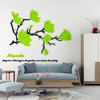 3d acrylic self adhesive DIY stereo wall sticker Beautiful Magnolia Flower Bedroom Bedside Decoration Flower Living room sticker