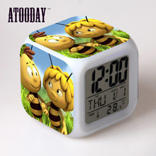Maya Lebah Alarm Clock LED Lampu 7 Warna Perubahan Orologio Digital Watch Klok Meja Plastik Digital Vintage(China)