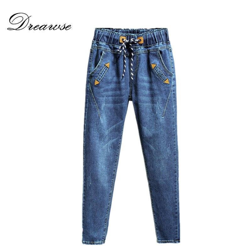 Dreawse 200 Pounds Plus Size Women Denim Pants Harlan   Jeans   Casual Long Pants Femme High Waist Elastic Waist Trousers MZ2489