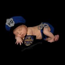 DreamShining ручная работа вязаная шапочка для новорожденного, для малыша реквизит для фотосессии аксессуары 1 год День рождения фото детские шапки синий костюм полицейского