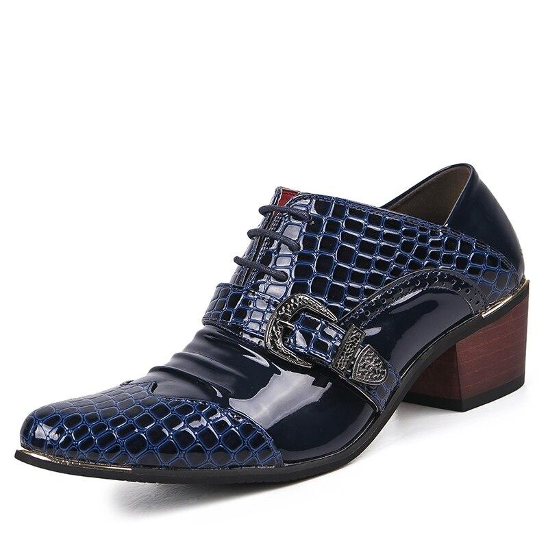 الأزياء البريطانية رجل حزب ملهى ليلي تحطيم حقيقية أحذية من الجلد 6 سنتيمتر سميكة عالية الكعب أكسفورد حذاء بوينت تو متعطل sapatos-في أحذية رجالية غير رسمية من أحذية على  مجموعة 1