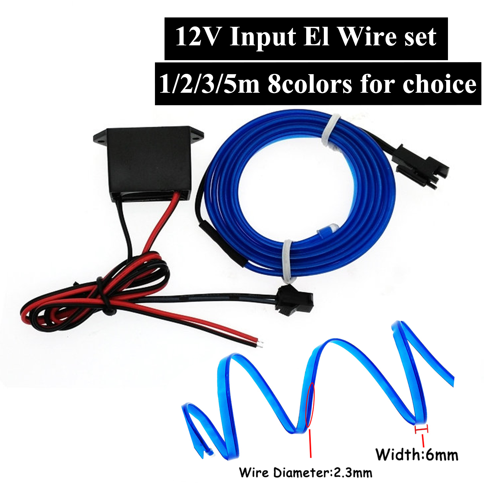 EL Wire 6mm Sewing Edge Neon Car Interior Lights Glowing Strobing Striping Light Halloween Christmas Party Decor Led Strip Light