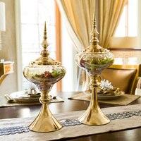 Европа домашний декор изделия из стекла ТВ шкаф мягкое украшение металлический стеклянные ёмкости для конфет Творческий Американский дом