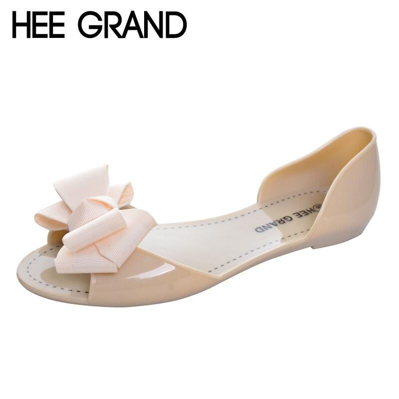Hee Grand/желе Сандалии для девочек Новинка 2017 года пляжная прозрачная обувь женщина жаркое лето с бантом-бабочкой женская повседневная обувь без застежки на плоской подошве xwz3344