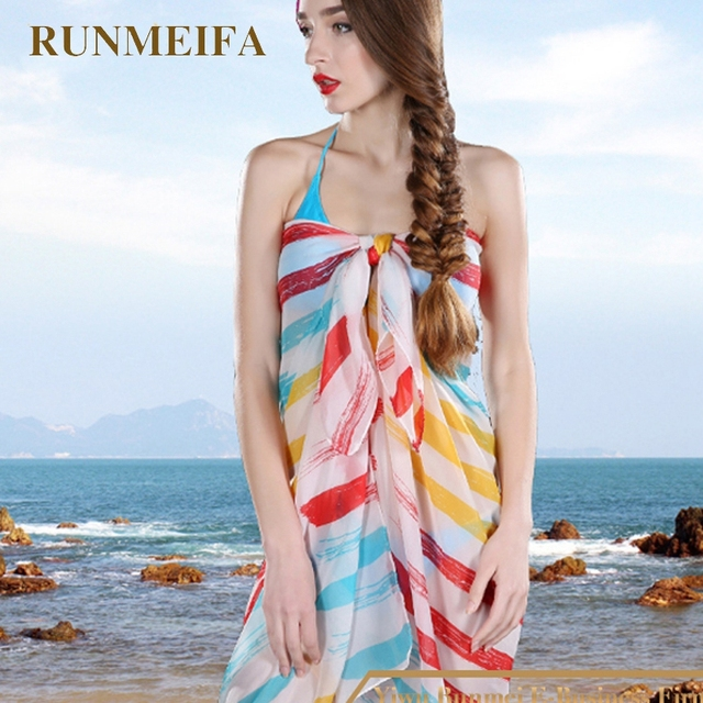 1a752b8266b  RUNMEIFA  Hot pareos beach sarongs For Women Girls Sexy Bikini Cover Up  stripe Swimwear Beach dress Free shipping