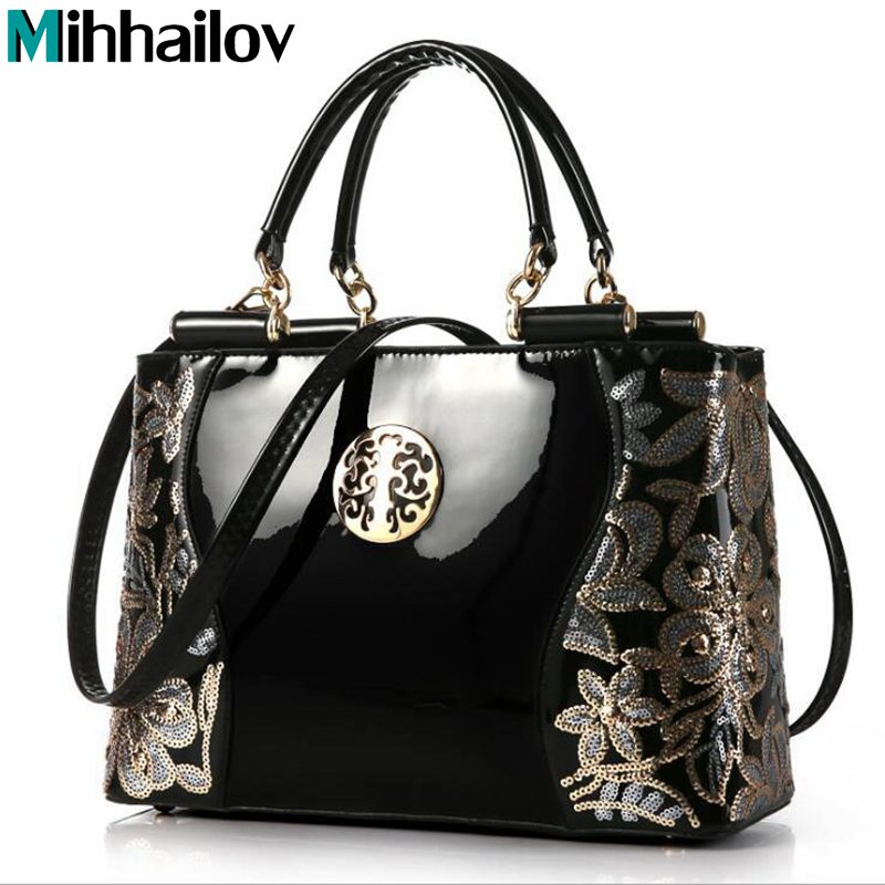 New Luxury Fashion Women Bag Embroidery Sequined Chains Patent Leather Famous Brand Shoulder Handbag Ladies Messenger Ba XS-322