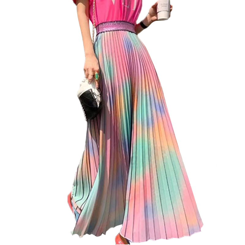 SETWIGG Korean Style Rainbow Color Block Dyed Print Long Pleated Skirts Elastic Waist Striped Gradient Colored Ankle Skirts