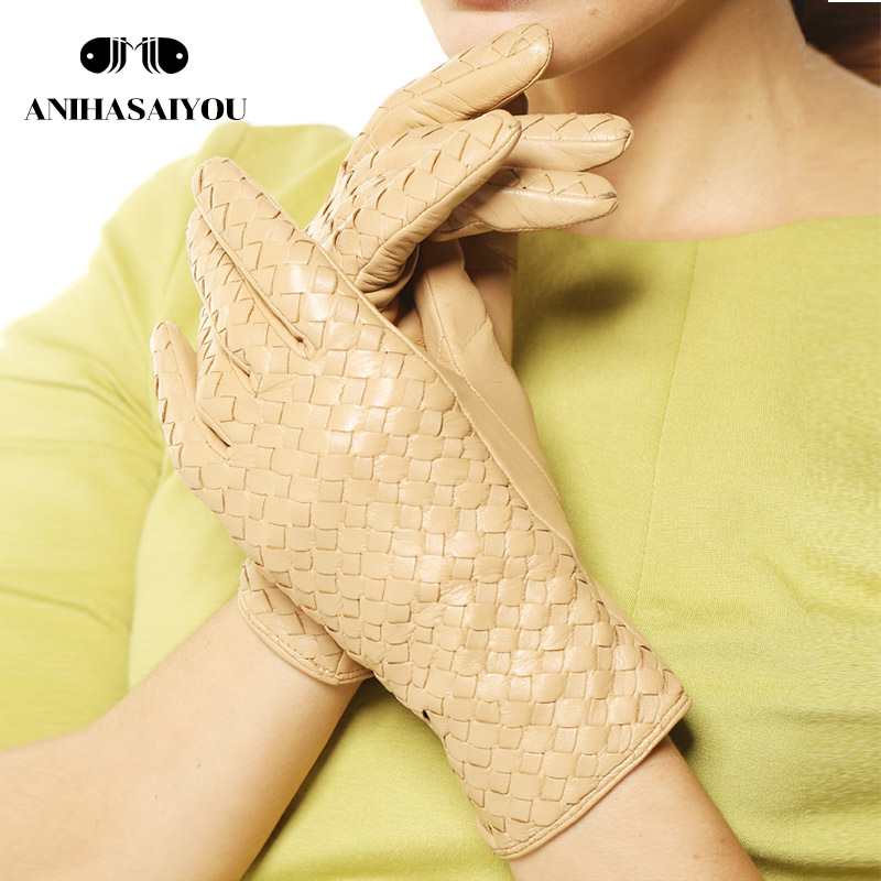 Winter leather gloves women warm thin lining fashion woven women leather gloves sheepskin genuine leather winter gloves - L118