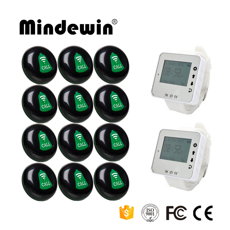 Mindewin Restaurant Wireless Service Calling System 12PCS Service Call Button M-K-1 and 2PCS Watch Pager M-W-1 wireless pager system 433 92mhz wireless restaurant table buzzer with monitor and watch receiver 3 display 42 call button