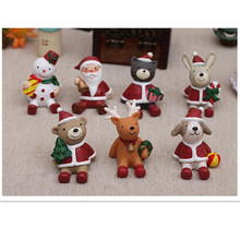 free shipping Mini Christmas Santa elf bear rabbit figures,car styling garden party cake decorations,Christmas birthday gift toy