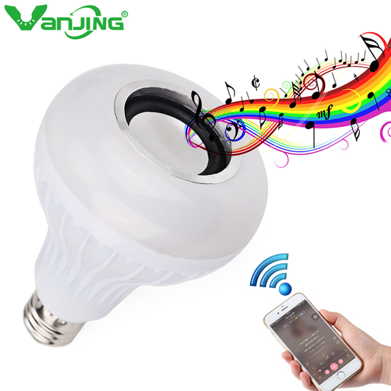 E27 Smart RGB RGBW Wireless Bluetooth Speaker Bulb Music Playing Dimmable LED Bulb Light Lamp with 24 Keys Remote Control